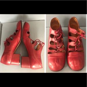 Retro red Mary Jane block heels sandals vintage